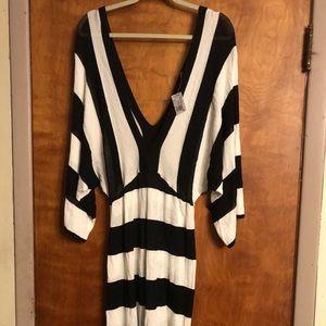 Ashley Stewart Black And White Kimono Dress 2X